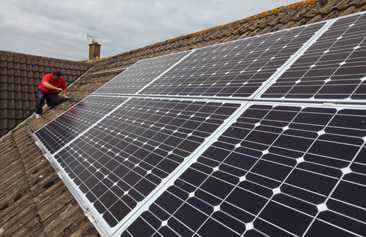 Solar PV Panels being installed by CEC Solar
